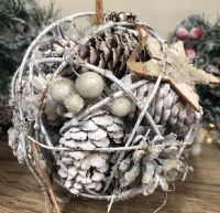 15cm Pinecone Hanging Ball with Star